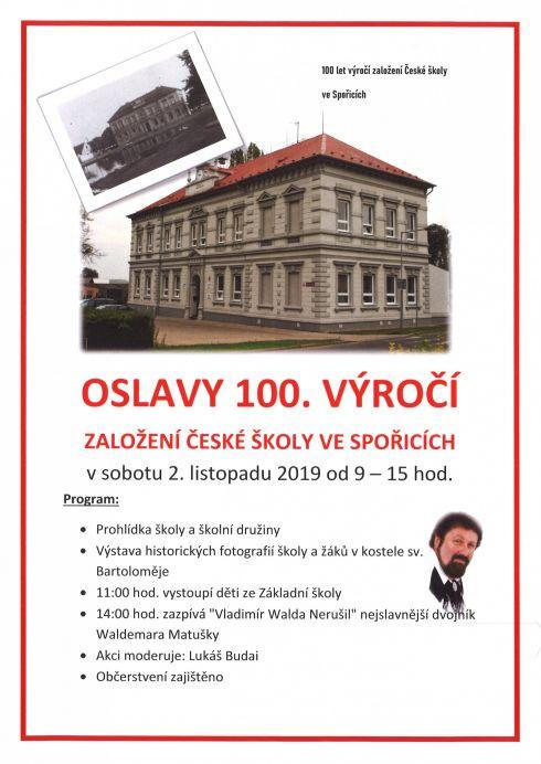 Pozvánka na100. výročí založení školy veSpořicích