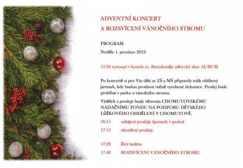 Adventní koncert arozsvícení vánočního stromu veSpořicích