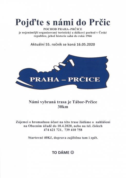 Pozvánka napochod Praha Prčice