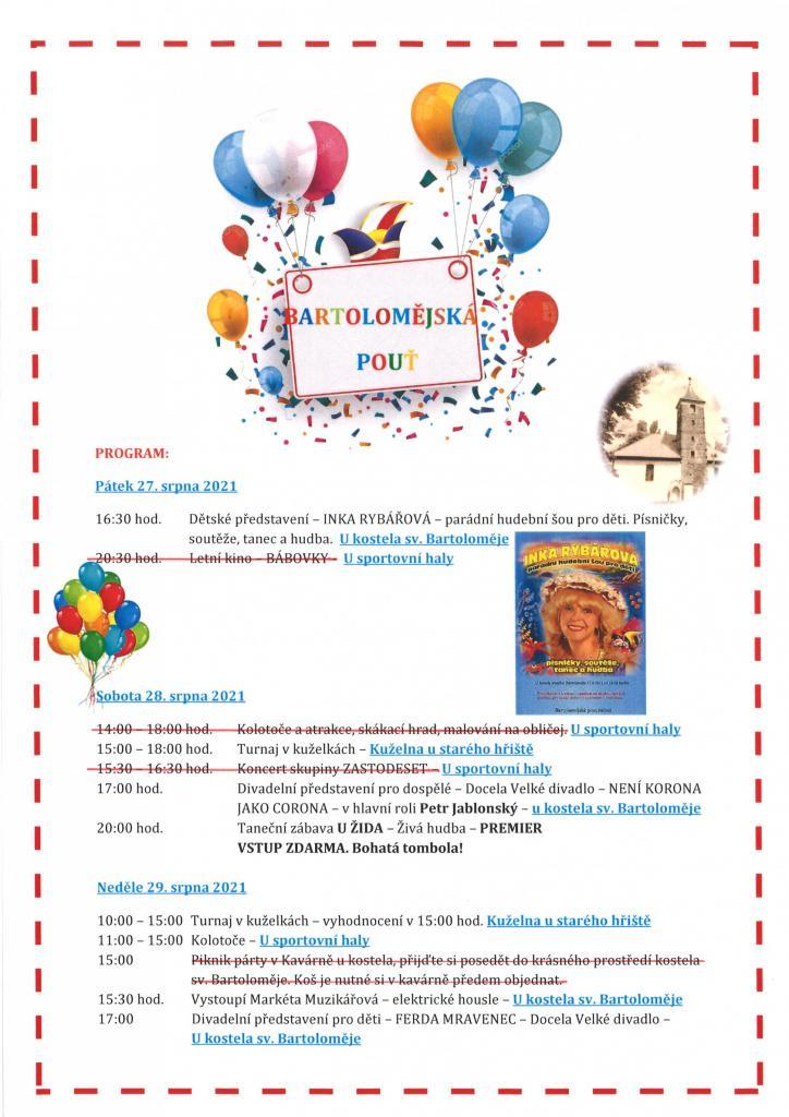 Bartolomějská pouť - změna programu - plakát
